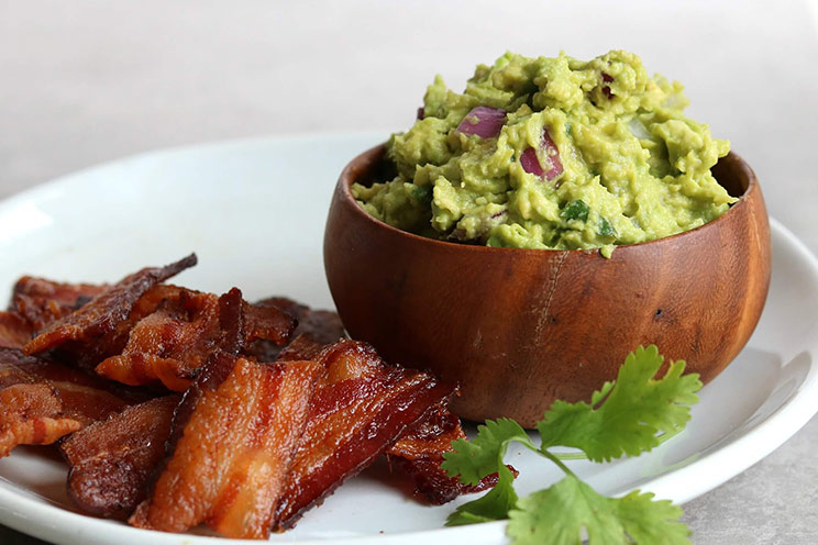 bacon chips and avocado guacamole