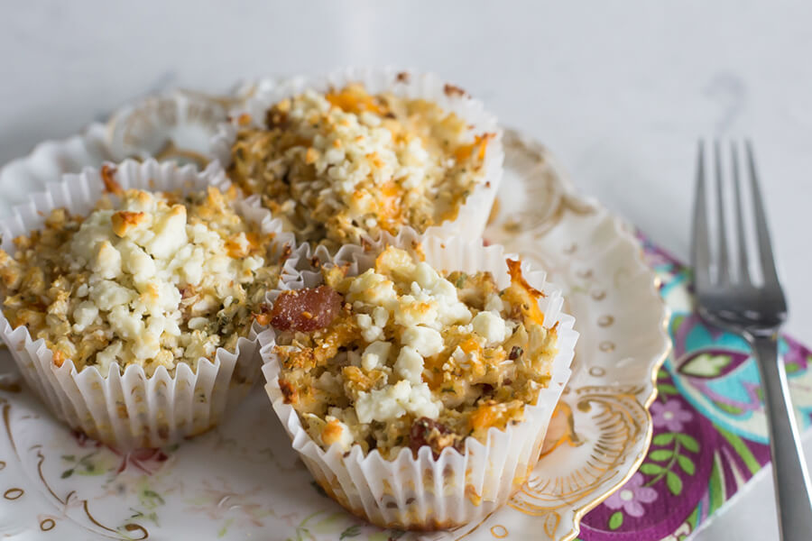 Cheese bacon cauliflower muffins