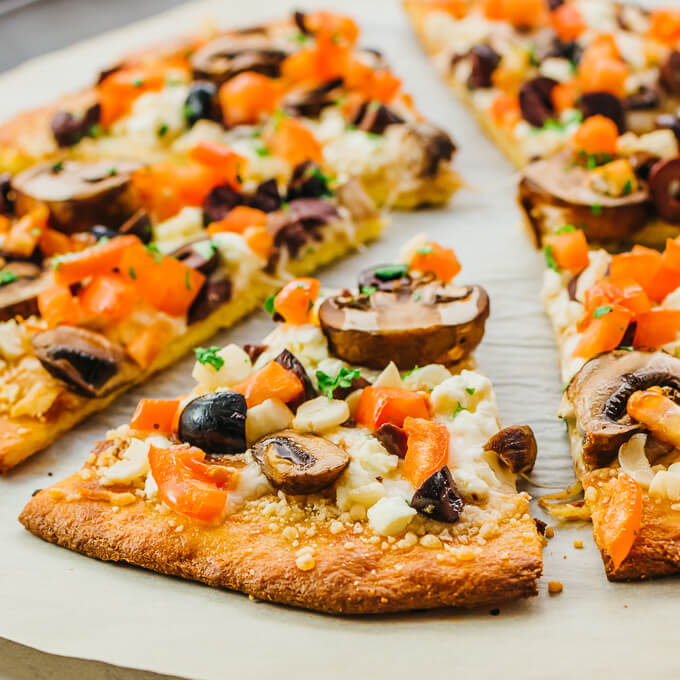 Low carb keto pizza with greek toppings