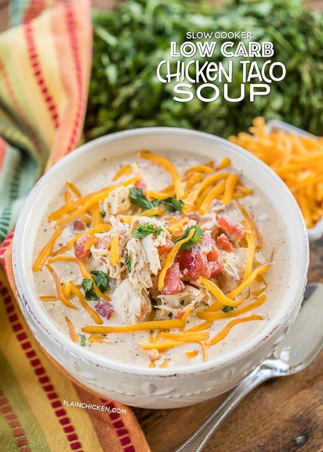 Keto crockpot chicken taco soup