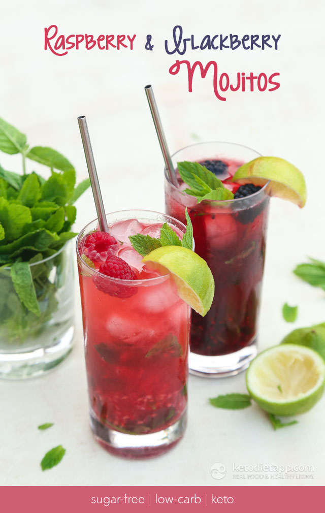 Low-Carb Raspberry & Blackberry Mojito Cocktails