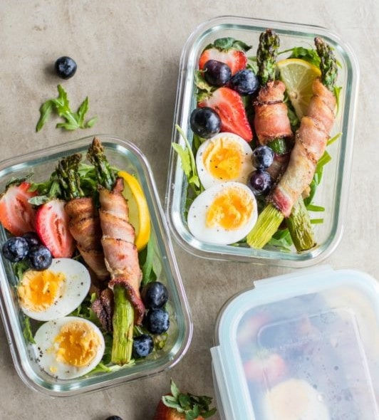 Bacon Wrapped Asparagus Breakfast Bowls