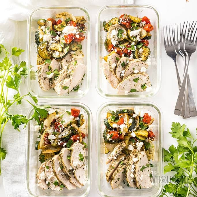 Low Carb Greek Chicken Meal Prep Bowls