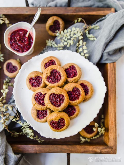 Low-Carb Heart Thumbprint Cookies