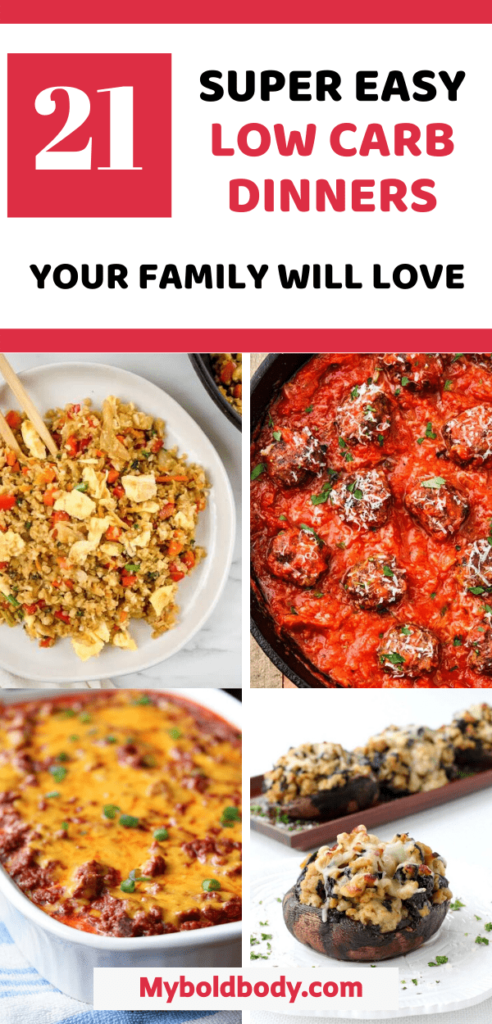 Enjoy the best of quick, easy and yummy low carb dinners that will satisfy your cravings and help you lose weight on a ketogenic diet. These 21 healthy low carb dinner recipes can be enjoyed with the family and are also great for meal prep. #lowcarbdinner #ketodinner #healthydinner #lowcarbrecipes #ketorecipeseasy