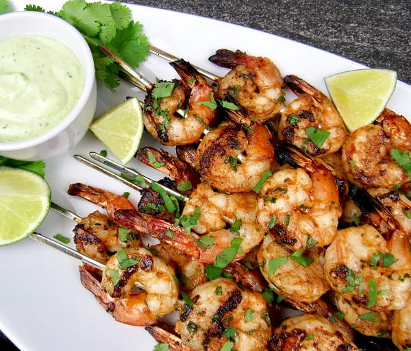 Grilled Lime Cilantro Shrimp Skewers