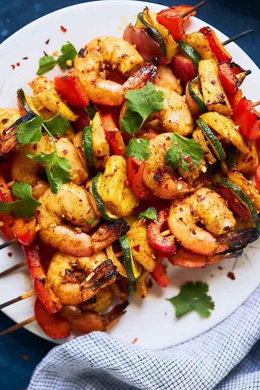 Spicy Shrimp and Veggie Skewers