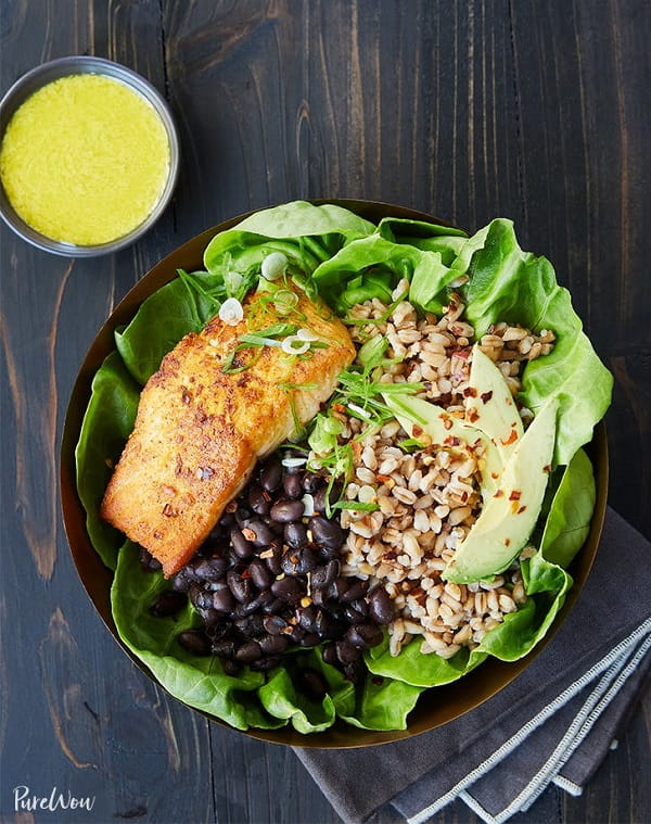 Salmon Bowl with Farro, Black Beans and Tahini Dressing
