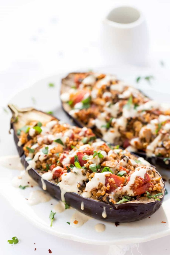 Quinoa Stuffed Eggplant with Tahini Sauce