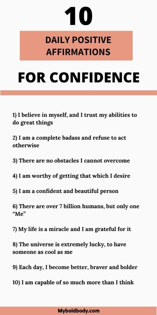 10 positive daily affirmations for confidence