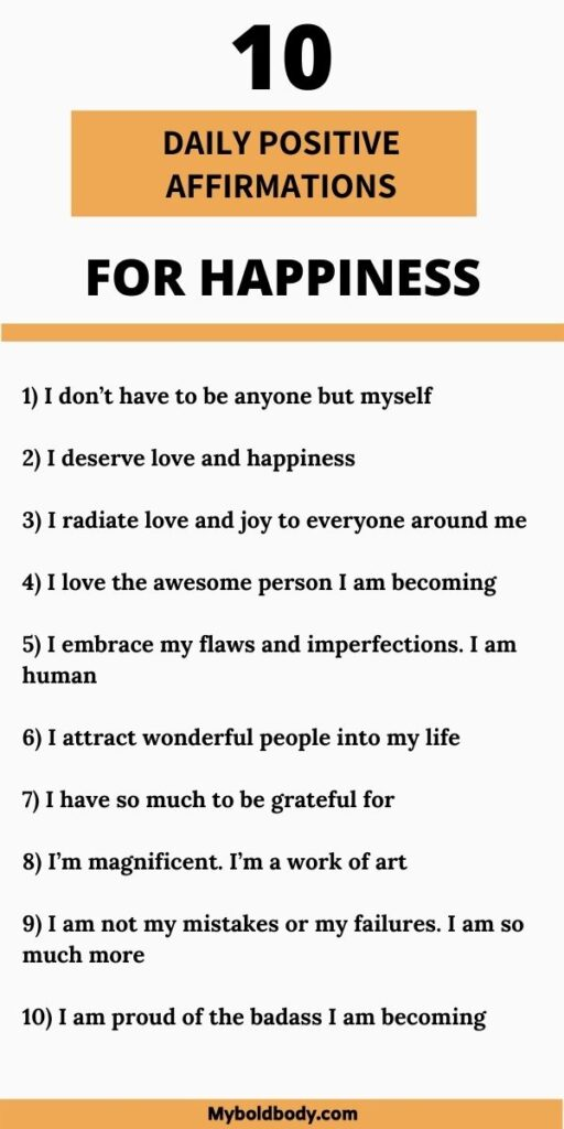 10 positive daily affirmations for happiness