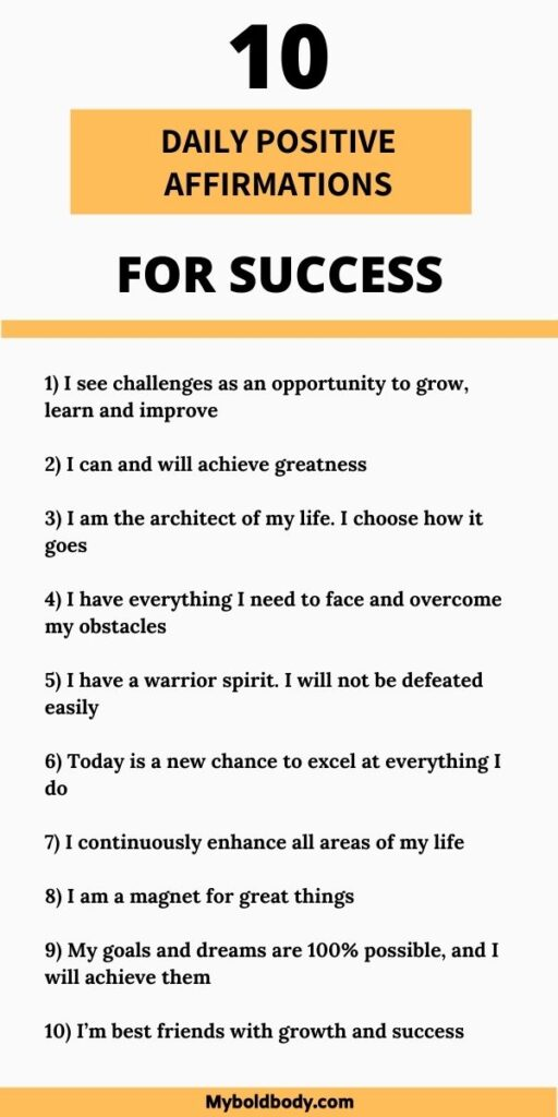 10 positive daily affirmations for success