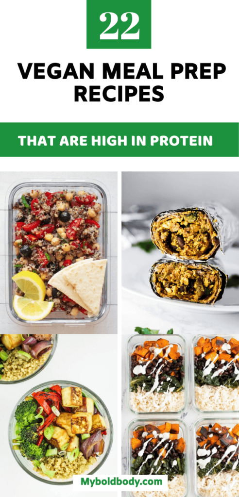 Here are 22 yummy high protein vegan meal prep recipes for you to enjoy. Easy plant based recipes from breakfast to lunch to dinner #veganrecipes #veganmealprep #veganlunch #plantbasedrecipes #highproteinvegan #mealprep
