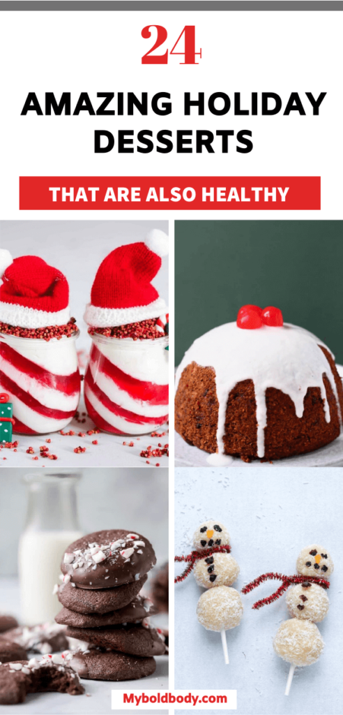 Enjoy the best of easy, healthy and delicious holiday desserts to satisfy your cravings. These 24 amazing holiday dessert recipes are great for your next christmas or thanksgivng party and will keep you in shape. #holidayrecipes #holidaydesserts #healthydesserts #christmasdesserts