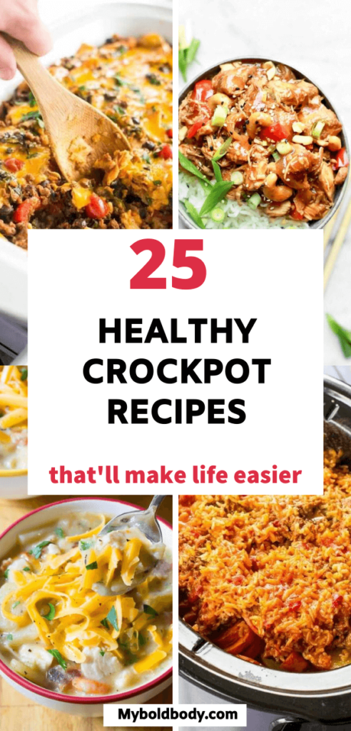 Enjoy the best of easy, delicious and healthy crockpot recipes to satisfy your cravings. These 25 amazing slow cooker recipes are super tasty, healthy and make a great dinner option. #crockpotrecipes #slowcooker #healthydinner #healthyrecipes #crockpotchicken