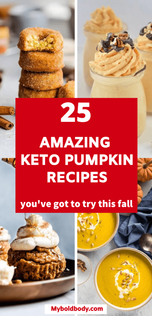 Here are 25 amazing keto pumpkin recipes that will satisfy your cravings this fall. From pumpkin pies, to cheesecakes to bread and more. Enjoy these healthy, low carb, gluten and sugar free pumpkin recipes #ketorecipes #ketopumpkin #pumpkinrecipes #fallrecipes