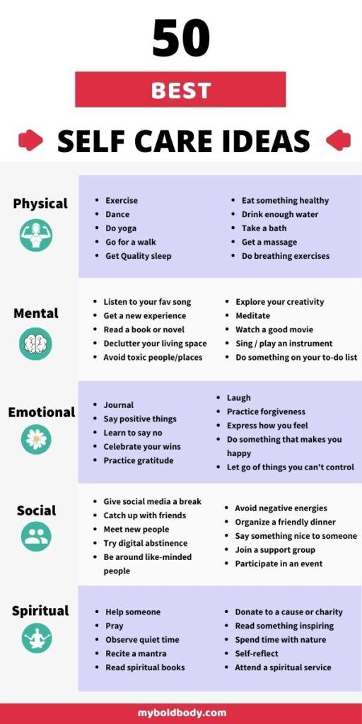 Here's a comprehensive list of 50 amazing self care ideas and activities to help you clear your mind, ease stress and make you feel better and love yourself more. You can add these simple and easy self care habits into your daily routine, even on a busy day. #selfcare #selflove #loveyourself