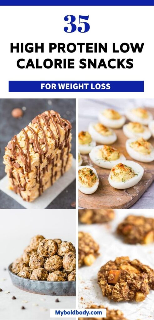 Here are 35 high protein low calorie snacks to satisfy your cravings and help you lose weight. These healthy snacks ideas and recipes are easy to make, and great for weight loss and clean eating. #healthysnacks #highproteinsnacks #cleaneatingrecipes #lowcaloriesnacks #weightlossrecipes