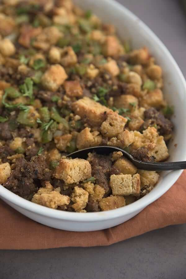 Keto Sausage and Bread Stuffing