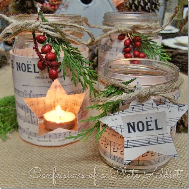 French Sheet Music Christmas Candles