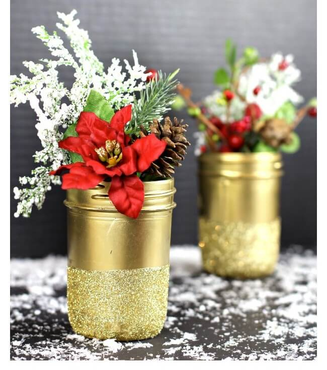Gold Glittered Mason Jar Vases
