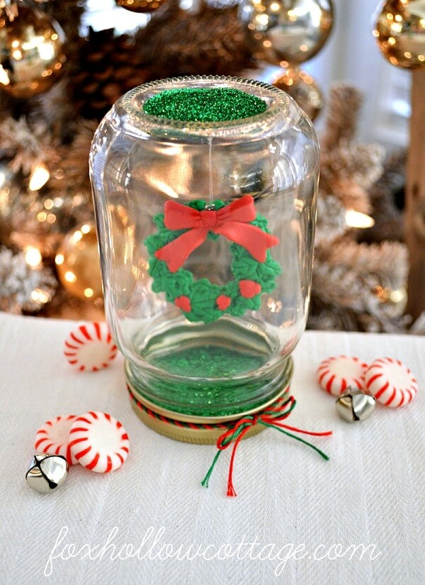 Dollar Tree Mason Jar Christmas Snow Globe