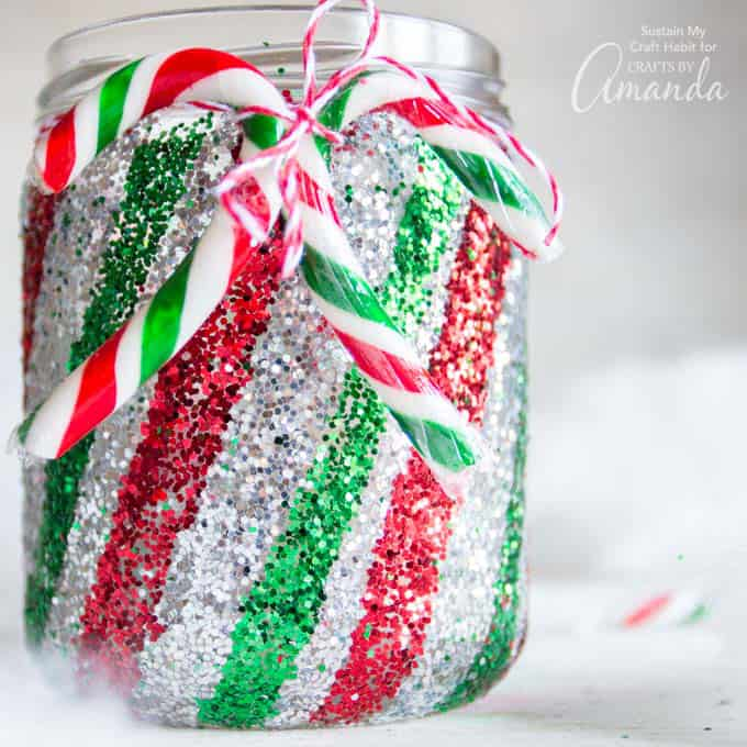 Candy Cane Mason Jar Luminary