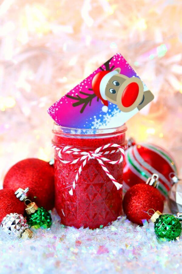 Mason Jar Holiday Gift Card Holder with Slime