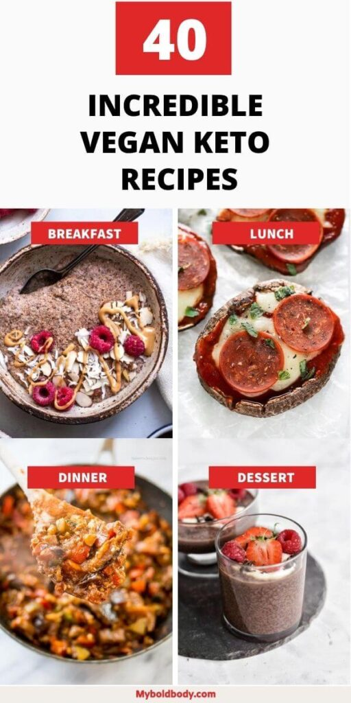 Here are 40 easy and delicious vegan keto recipes to satisfy your cravings and help you burn fat. From delicious vegan keto breakfasts, to vegan keto lunch, dinner and dessert, these low carb vegan recipes will keep you in ketosis and help you lose weight easily. #veganketo #ketorecipes #lowcarb #veganrecipes #lowcarbrecipes