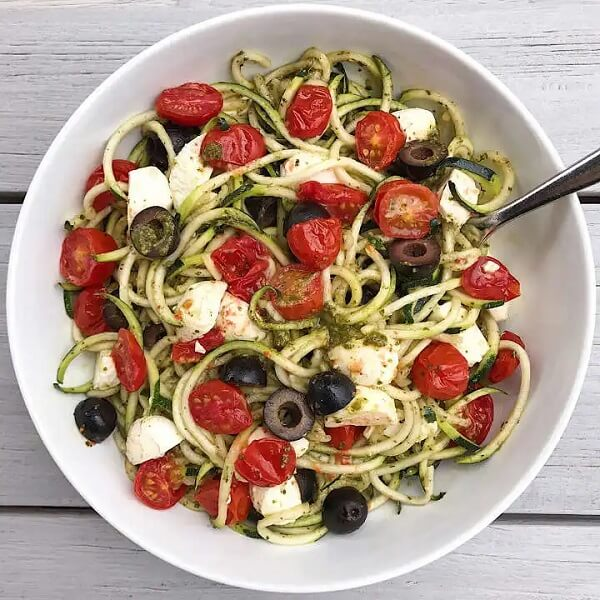 Caprese Zoodles with Basil Pesto