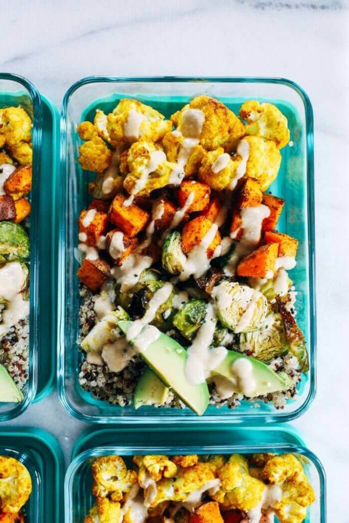 Balsamic Tempeh & Roasted Vegetable Quinoa Bowls