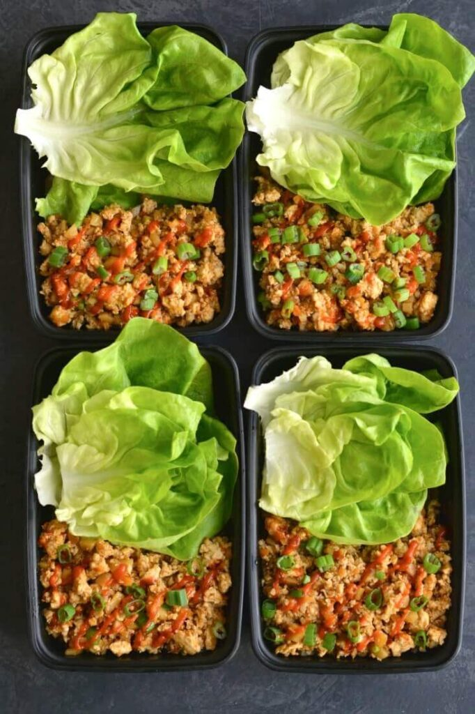Meal Prep Healthy Chicken Lettuce Wraps