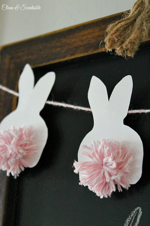 Easter Bunting with Pom Pom Bunnies