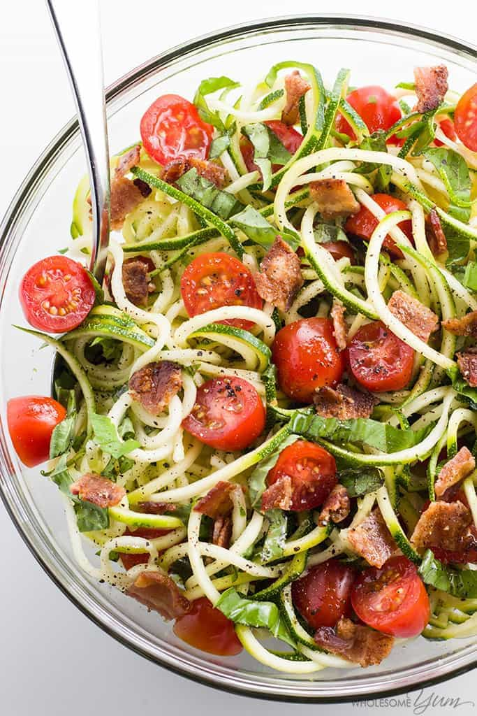 Zucchini Noodle Salad Recipe With Bacon & Tomatoes