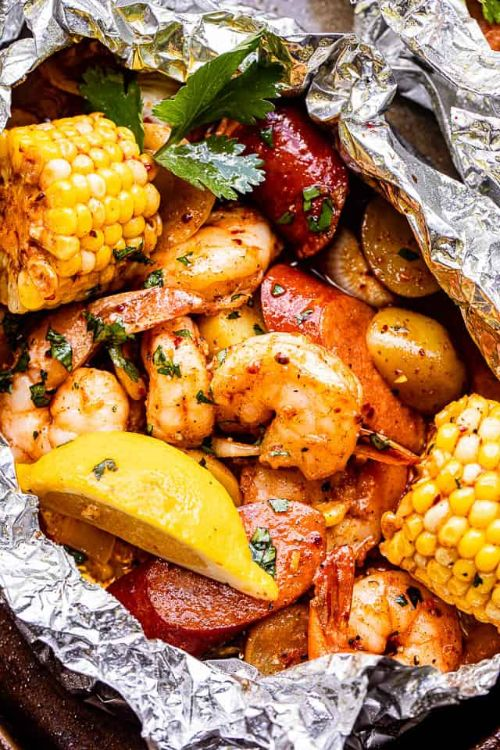 Grilled Shrimp Boil in Foil Packets