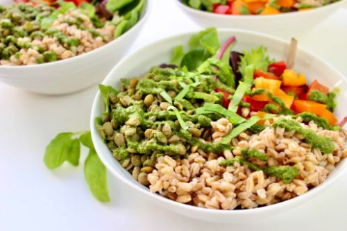 Vegan Grain Bowl with Pesto