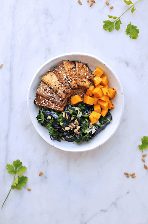 Sesame Balsamic Tofu Bowls With Chile Mango + Sunflower-Cilantro Pesto
