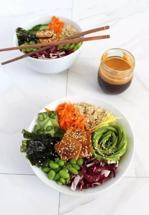 High Protein Vegan Sushi Bowl with Sweet Soy Ginger Sauce