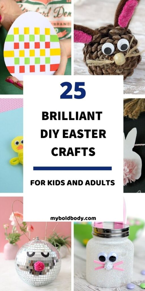 Here are 25 easy and super adorable DIY Easter crafts to make with the kids. These cute DIY Easter craft ideas for kids are so cute, and can be made by children and adults alike. From easter bunny, to easter chick and easter egg crafts and more. #easterdiy #craftsforkids #eastercrafts #easter #DIYcrafts