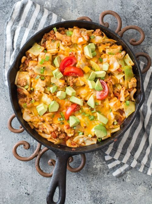 One Pan Cheesy Taco Cabbage Skillet