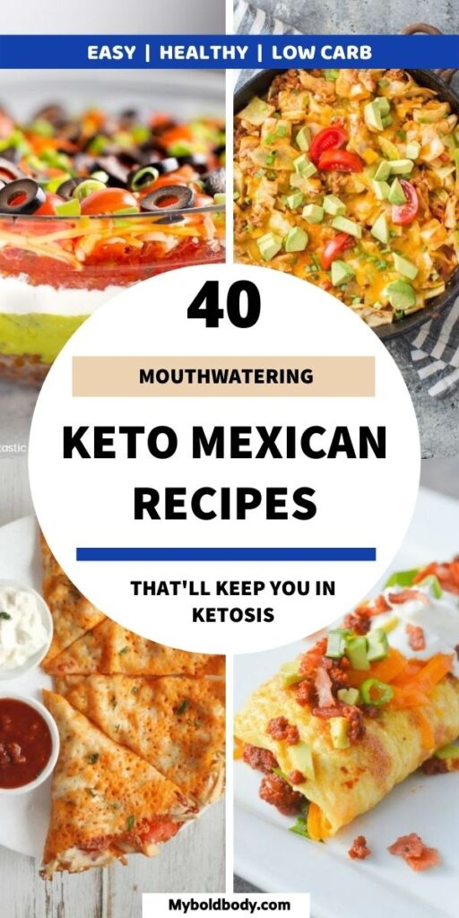 40 easy and incredibly delicious keto Mexican recipes to keep you satisfied and help you burn fat easily. These easy, yummy and healthy Mexican recipes are low carb and gluten free. From the best keto taco recipes to enchiladas, quesadillas and more, these keto Mexican recipes will more than satisfy your cravings. #ketorecipes #ketomexican #mexicanrecipes #lowcarbrecipes #mexicanfoodrecipes #tacorecipes