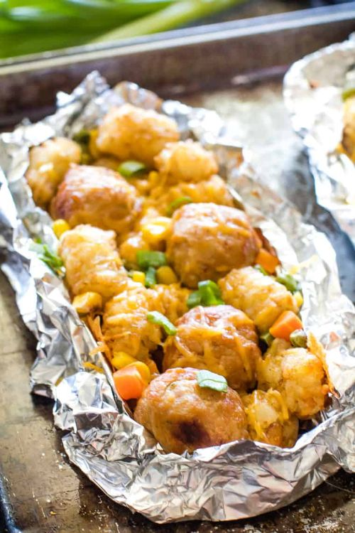Tater Tot Meatball Foil Packet Meals