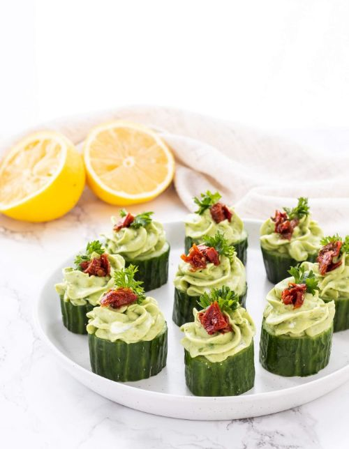 Avocado Goat Cheese Cucumber Appetizers