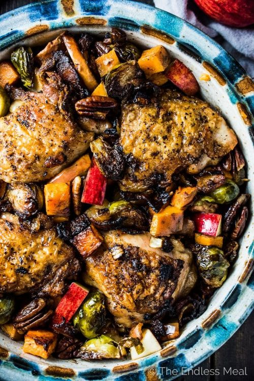 Bacon Apple Chicken With Sweet Potatoes And Brussels