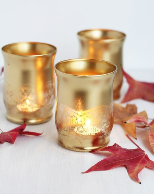 Gold Lace Candle Holders