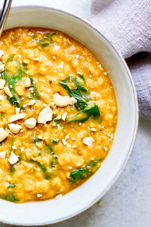 Pumpkin Lentil Curry with Spinach