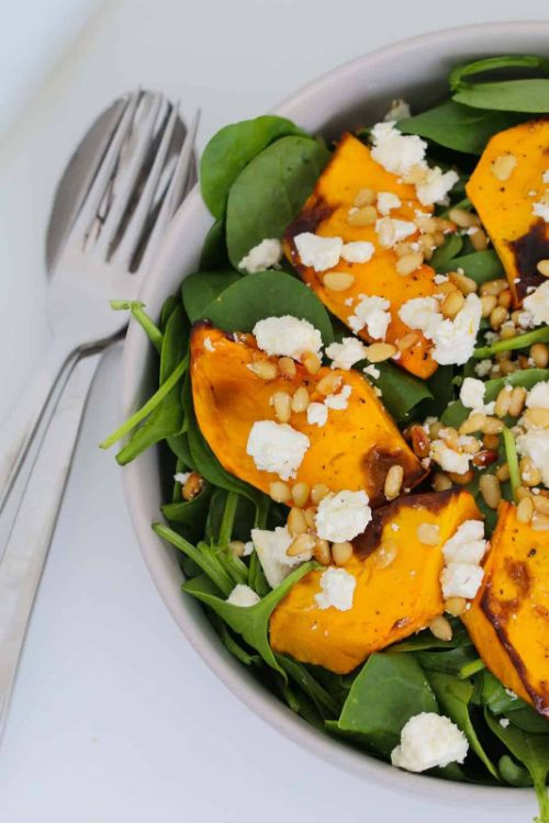 Roast Pumpkin Salad with Feta, Pine Nuts & Baby Spinach